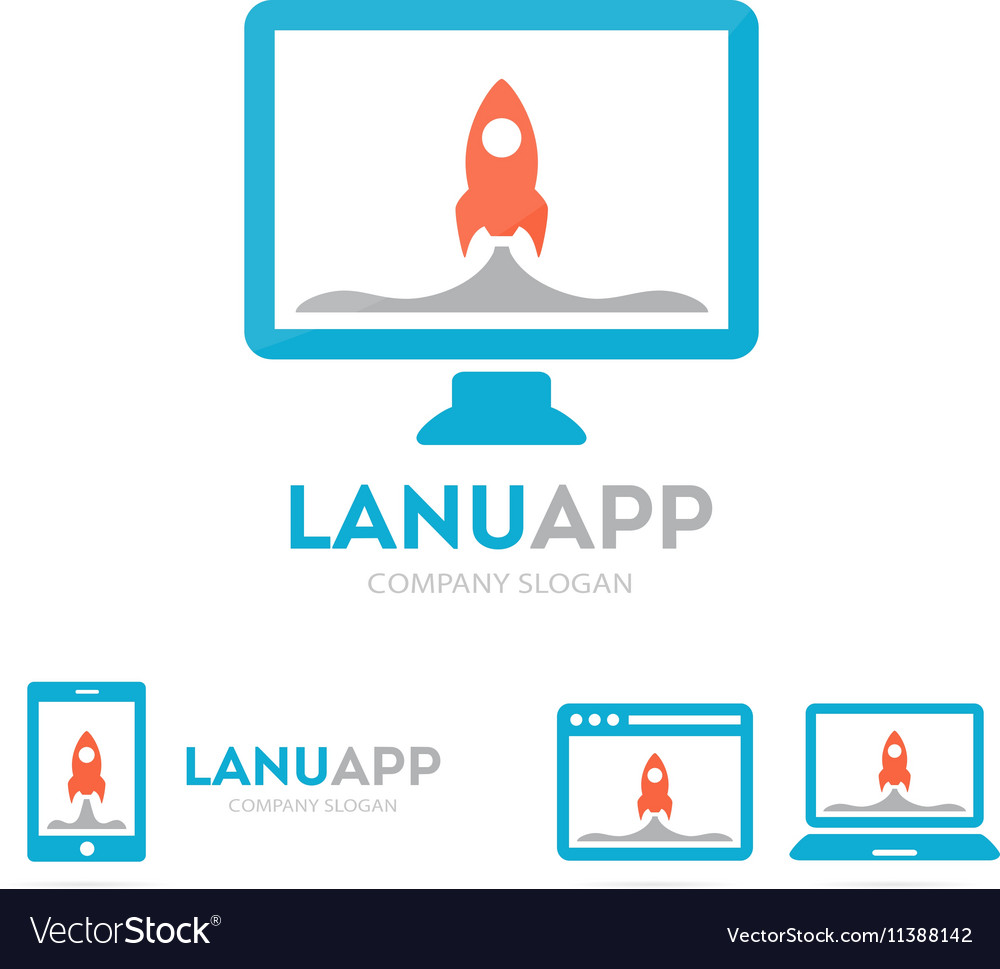 Spaceship and phone logo combination vector image