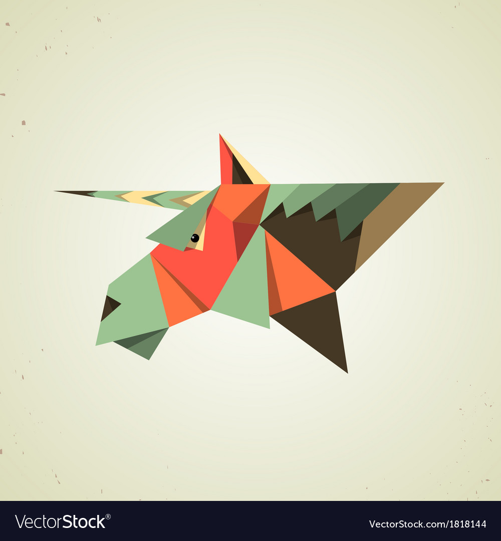 Magic origami unicorn from folded paper vector image