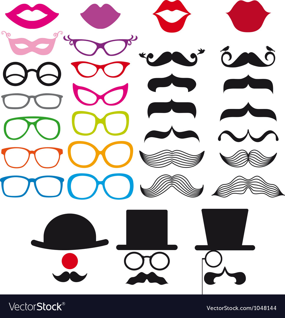 Mustache and spectacles design elements vector image