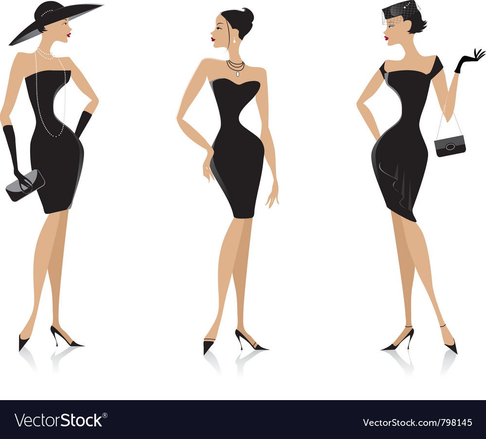 Fashion black dress vector image