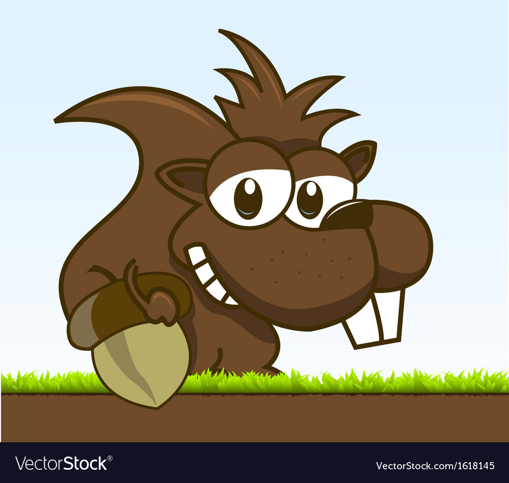 Chipmunk holding his acorn vector image