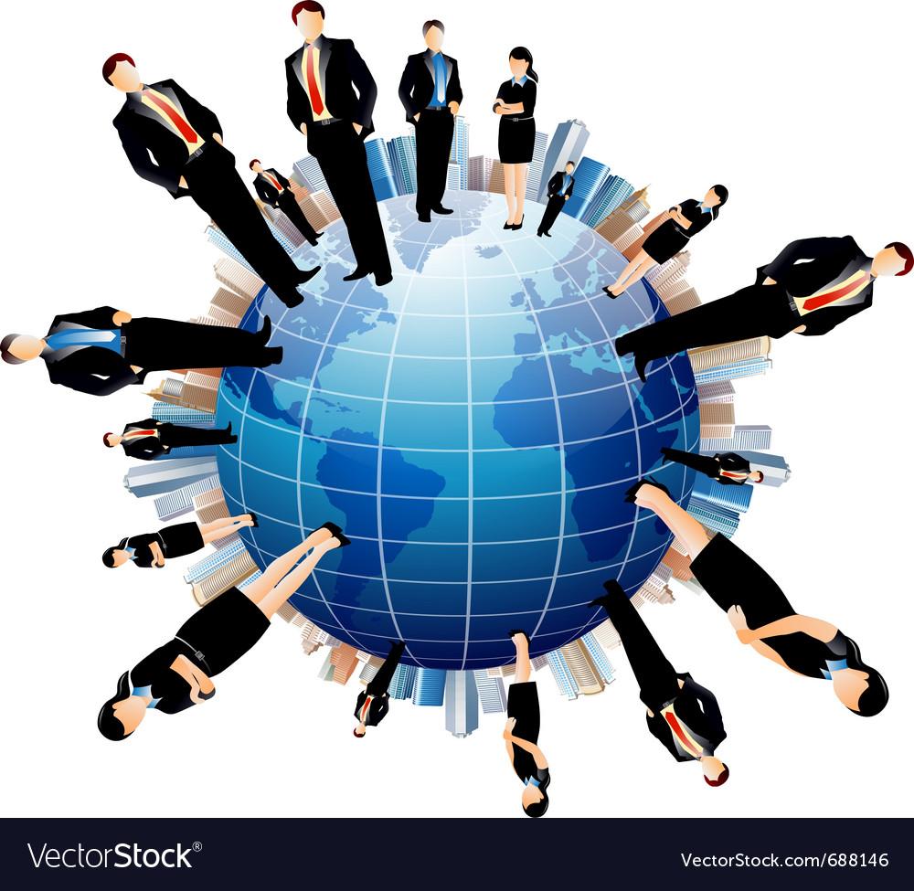 Businessmen world vector image
