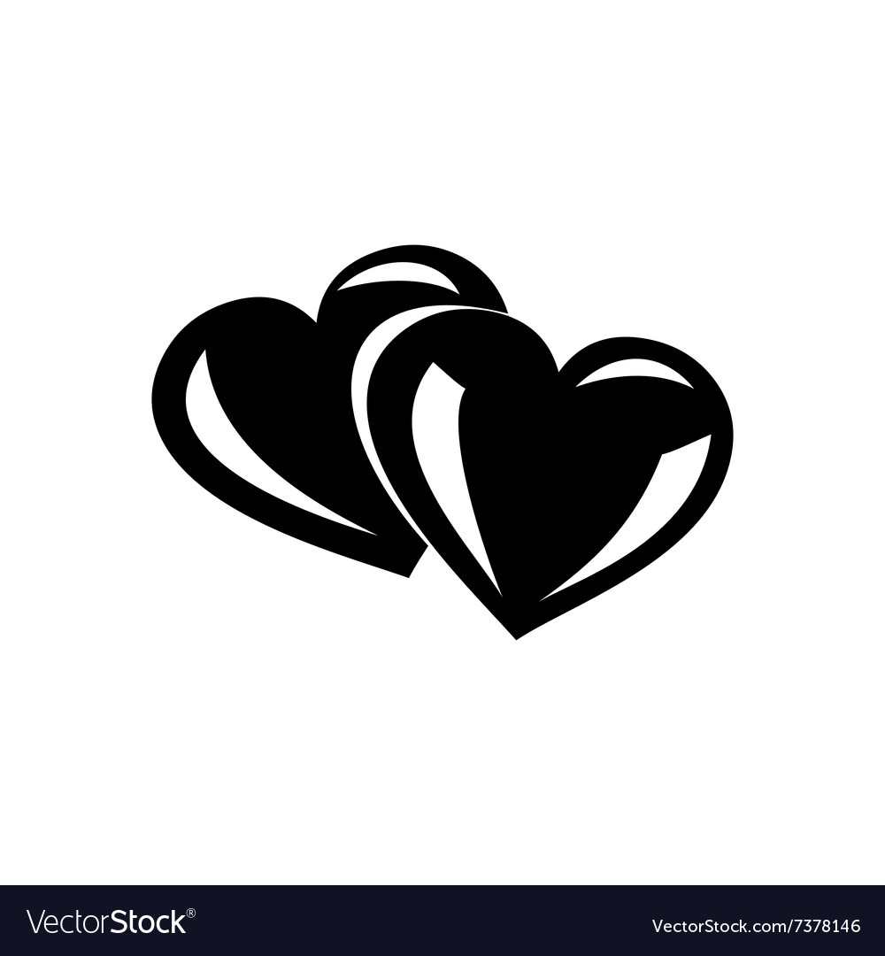 Two hearts simple icon vector image