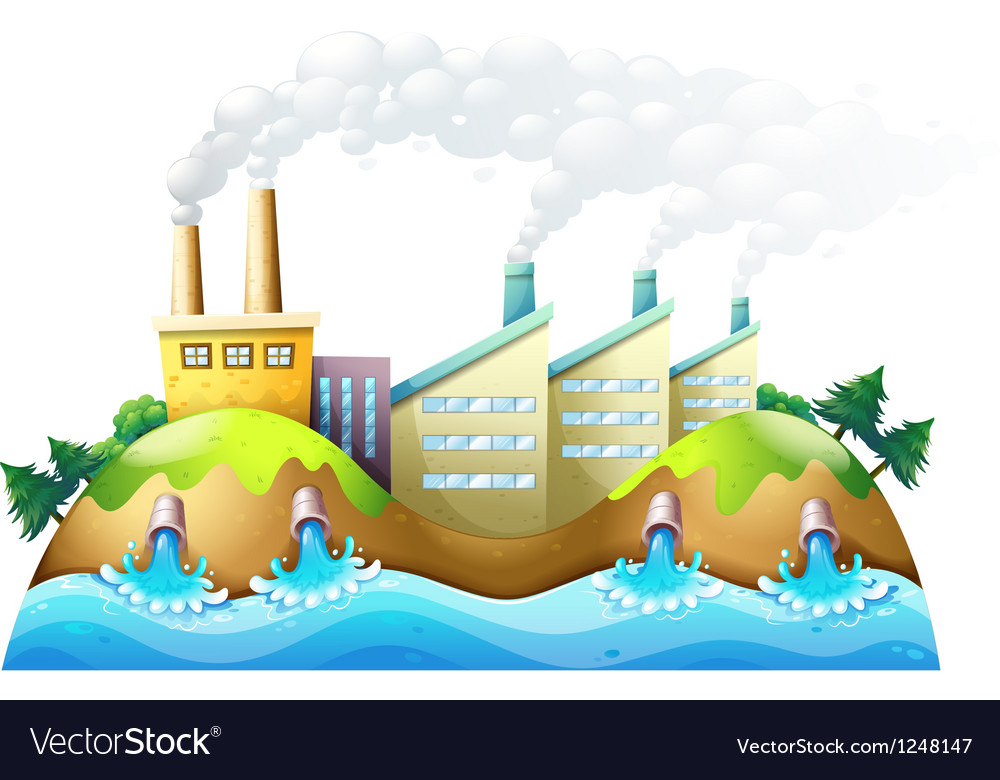 A city with factories vector image