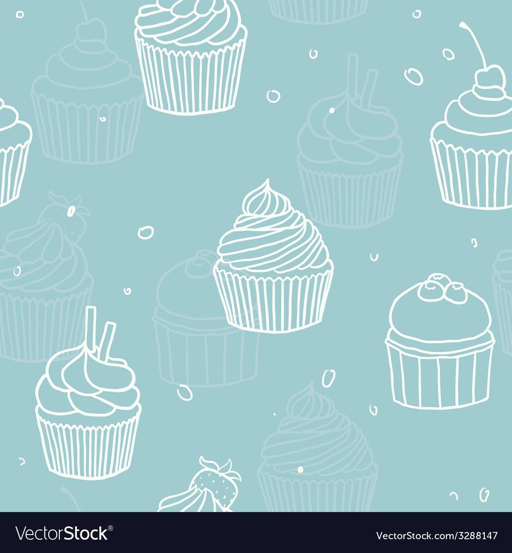 Blue cupckes pattern vector image