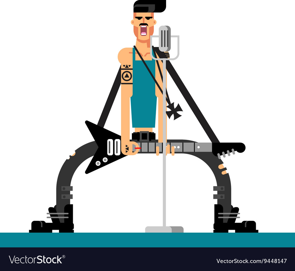 Singer character flat vector image