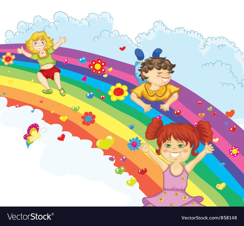kids on rainbow royalty free vector image vectorstock
