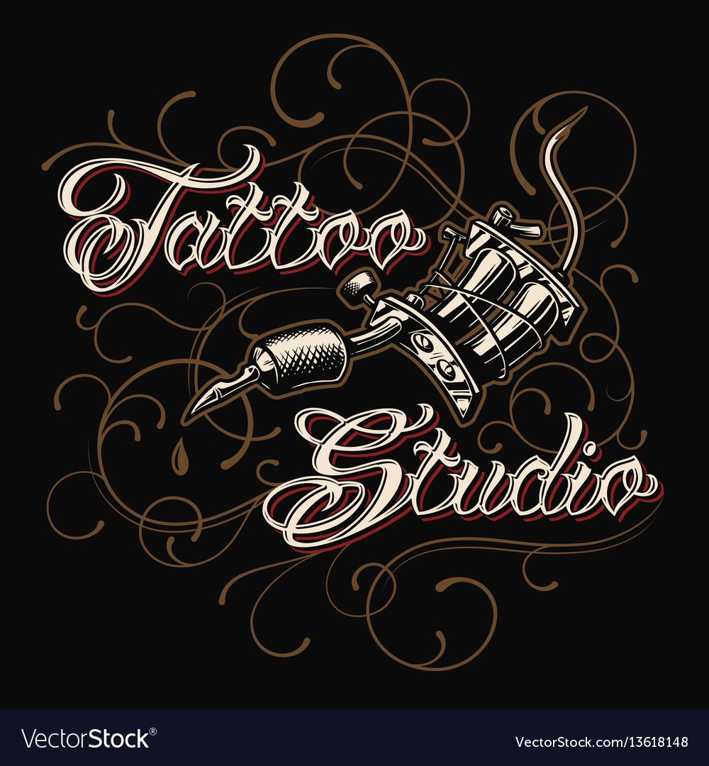 Tattoo studio emblem with tattoo machine vector image