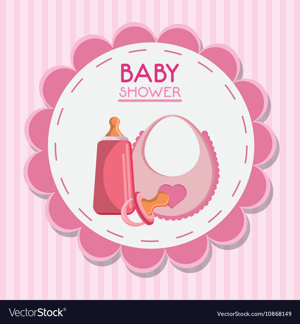 Pacifier bottle and baby bib design vector image