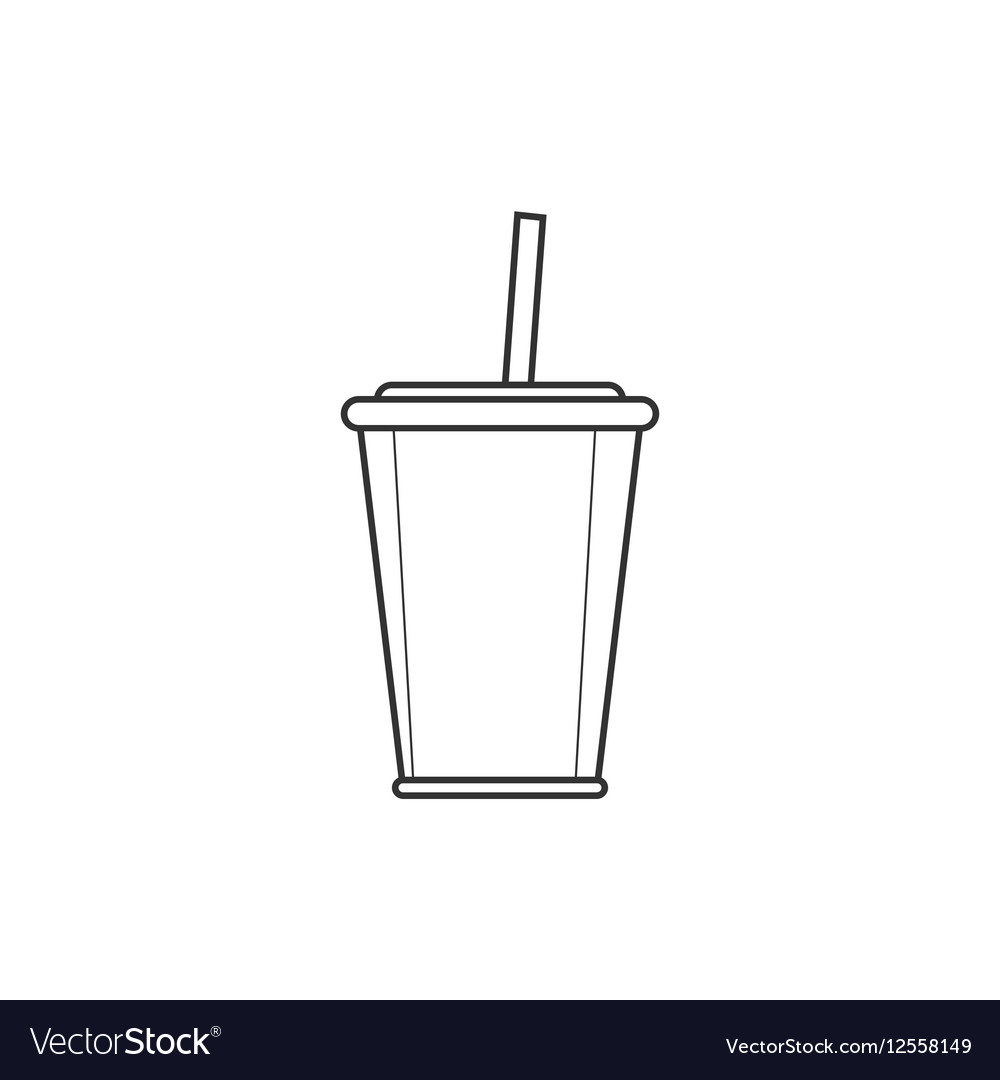 Soda with straw line icon vector image