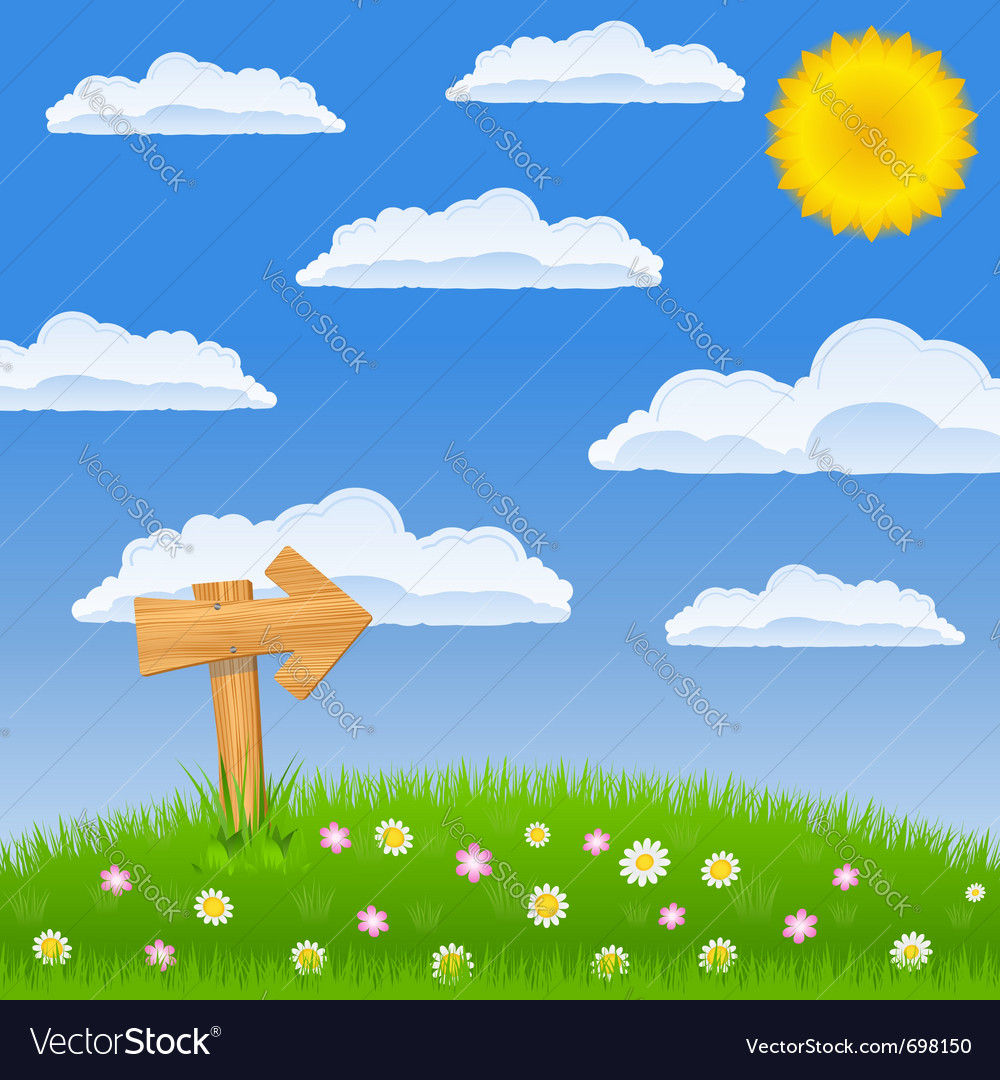 Green field with wooden arrow sign Vector Image