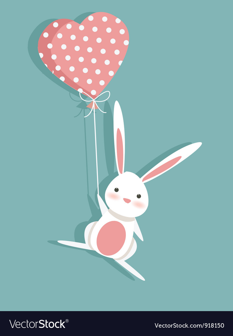 Valentine card with a cute bunny vector image