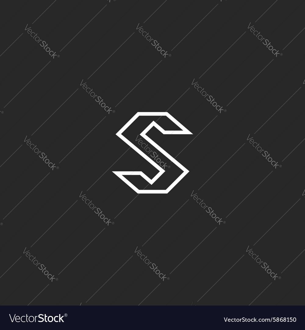Letter S logo monogram logotype mockup modern font vector image