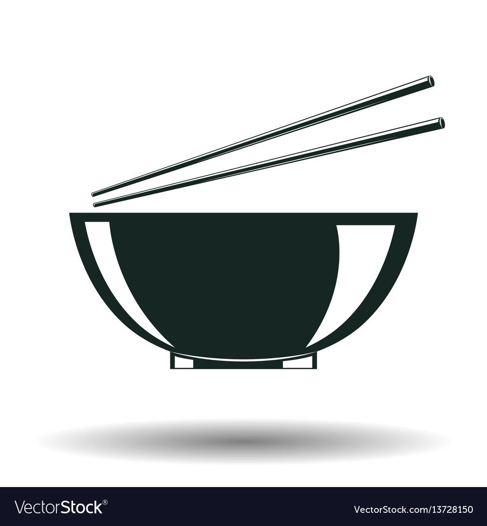 Monochrome japanese bowl sign vector image