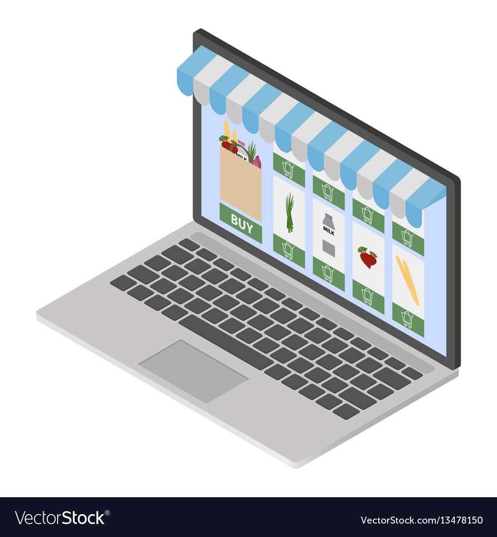 Online shop on modern laptop vector image