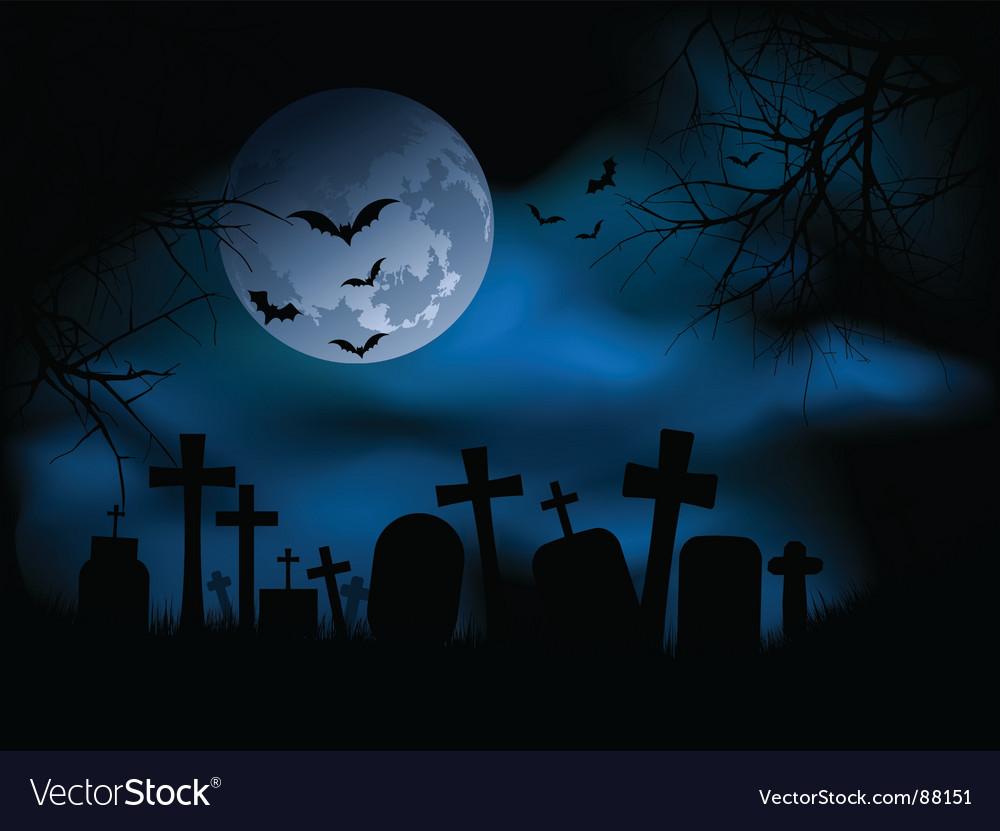 Spooky graveyard vector image