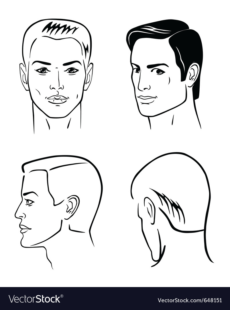 Four man outline faces vector image
