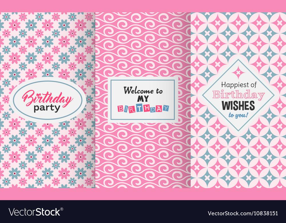 Happy birthday greetings invitation cute vector image