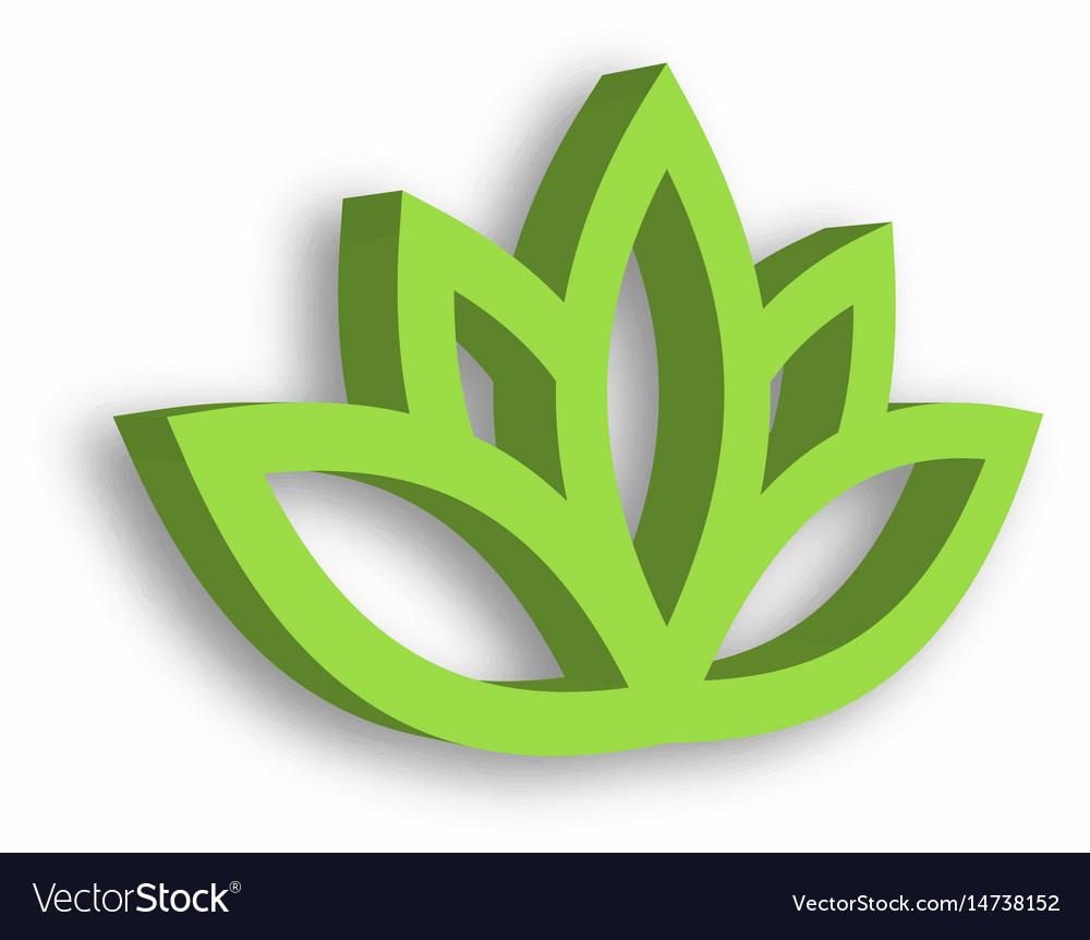 Green lotus flower 3d icon on white background vector image izmirmasajfo