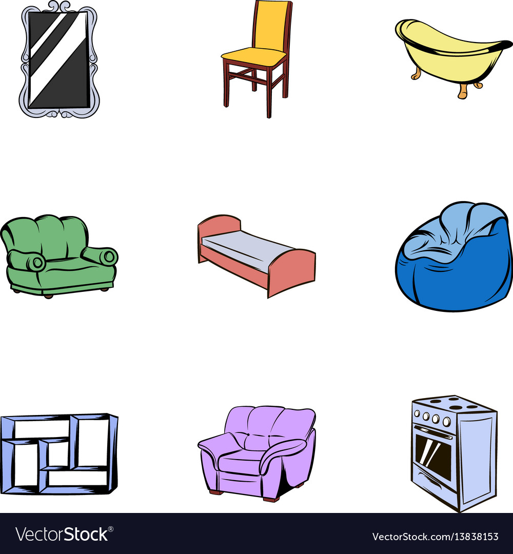 Furniture icons set cartoon style vector image