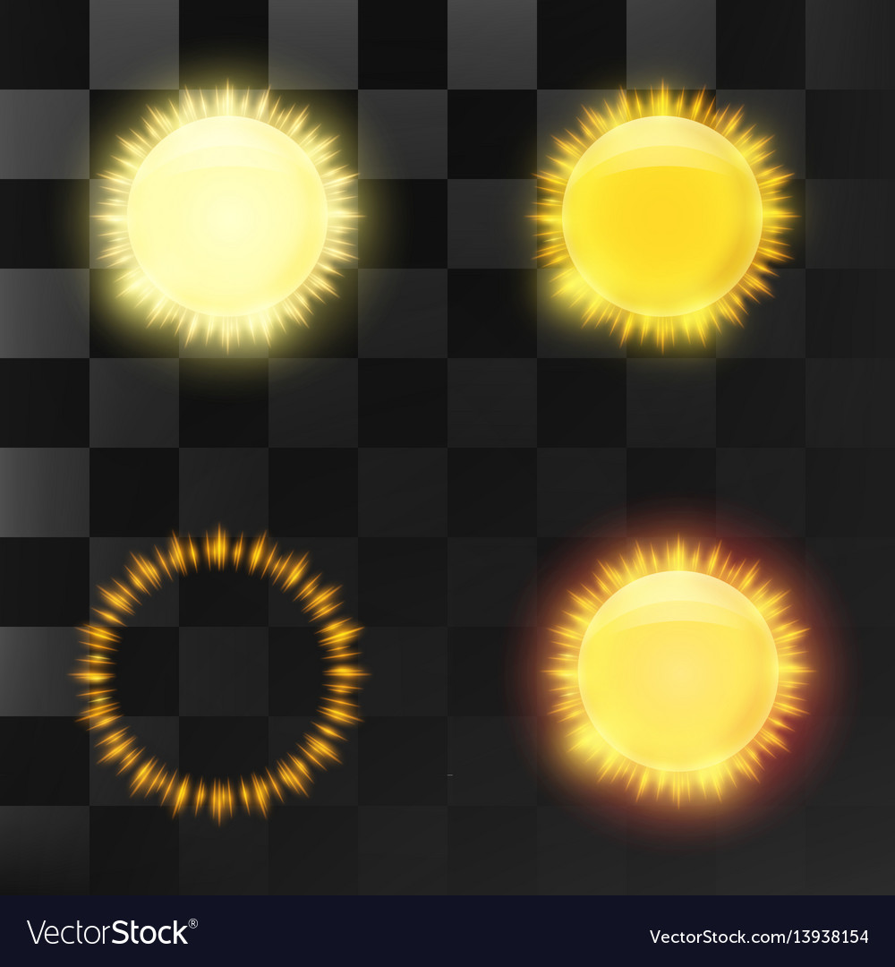 Set of bright transparent sun and sun elements vector image