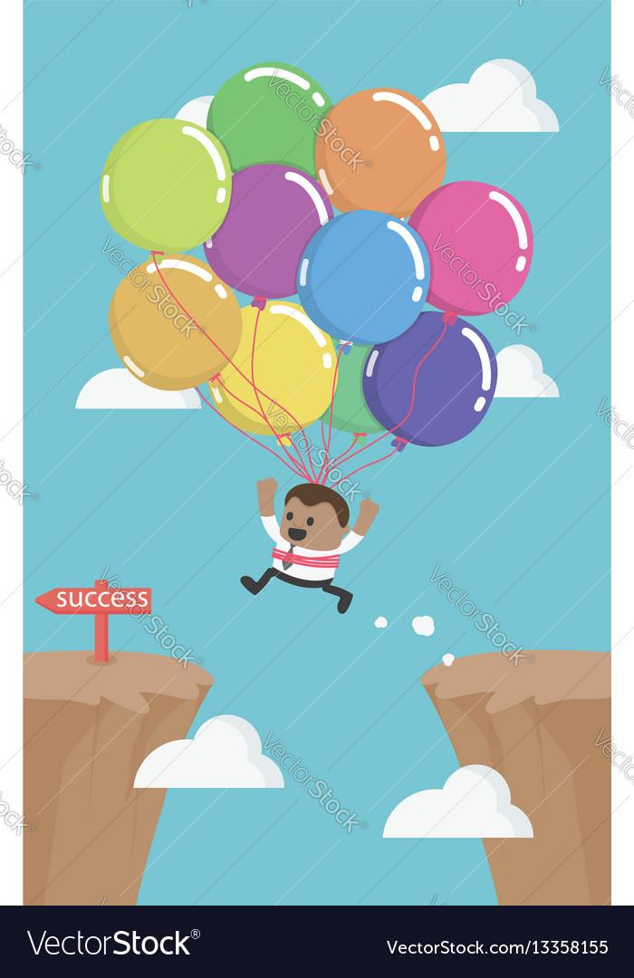African business man flies across gap to another vector image