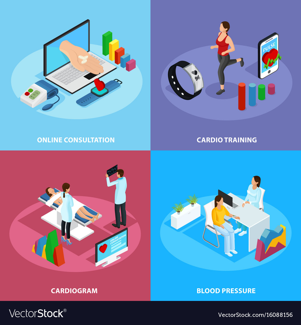 Isometric digital medical treatment concept vector image
