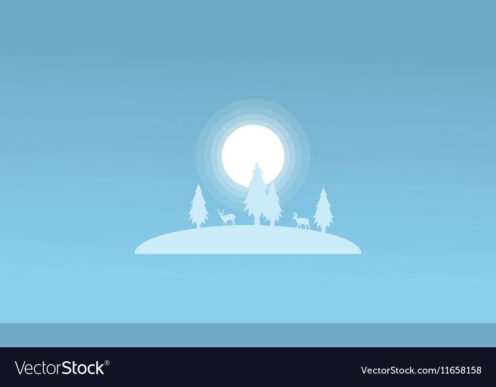 Christmas landscape spruce and deer winter vector image