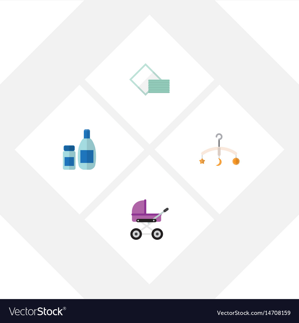 Flat baby set of cream with lotion napkin mobile vector image