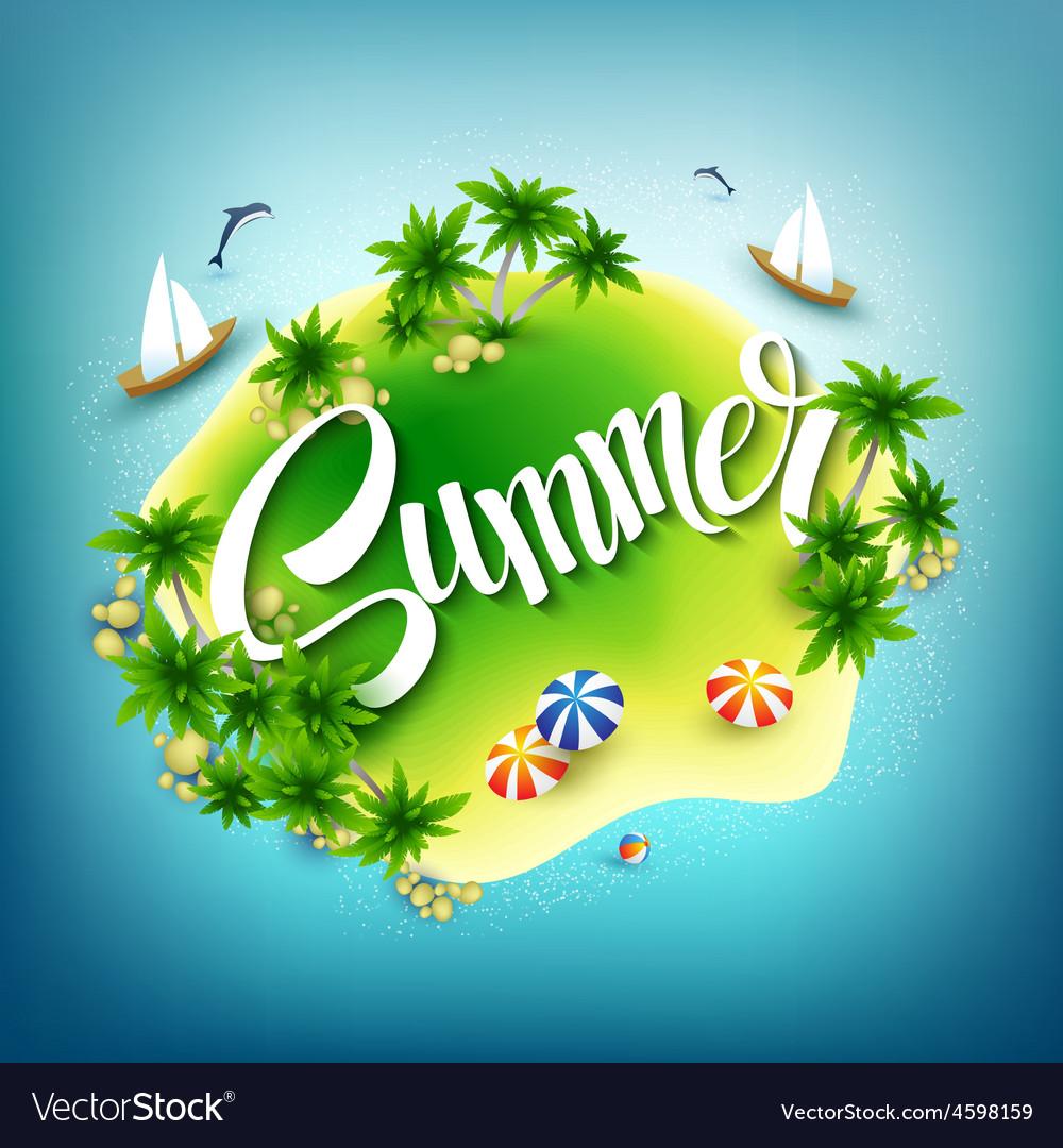 Headline Summer Tropical island in the blue sea vector image