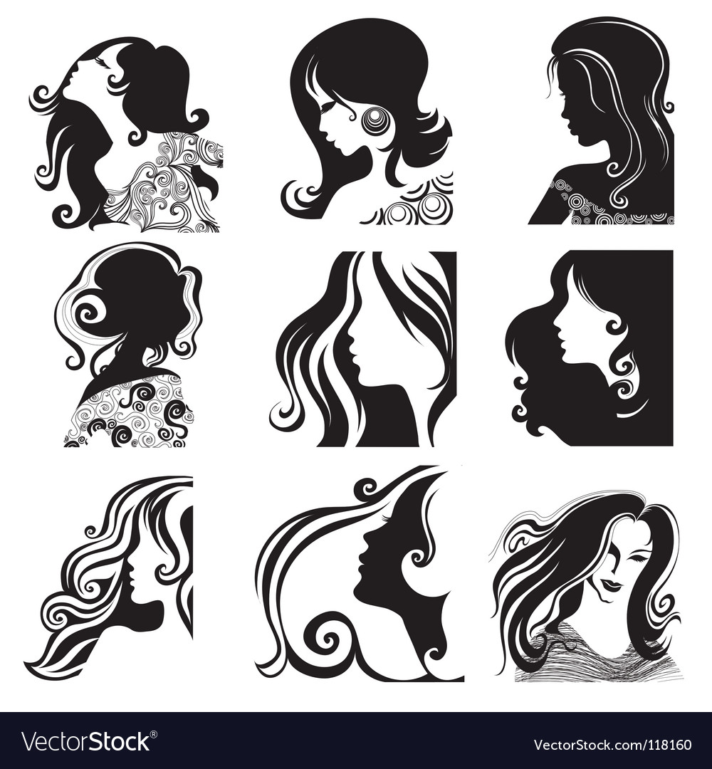 Silhouette ladies Vector Image