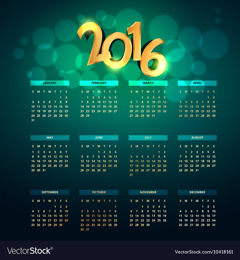 Creative golden 2016 calender vector image