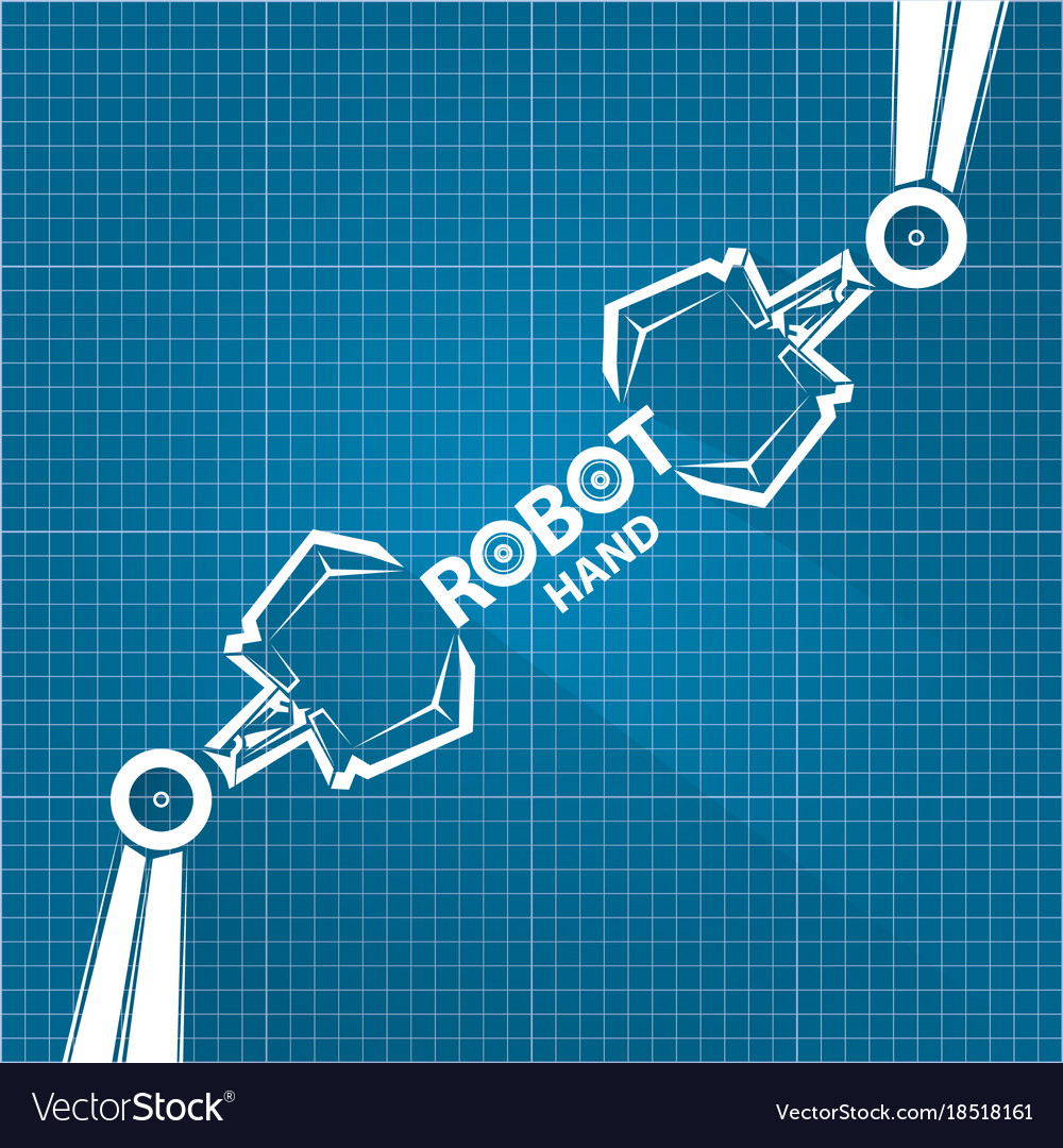 Robotic arm symbol on blueprint paper royalty free vector robotic arm symbol on blueprint paper vector image malvernweather Images