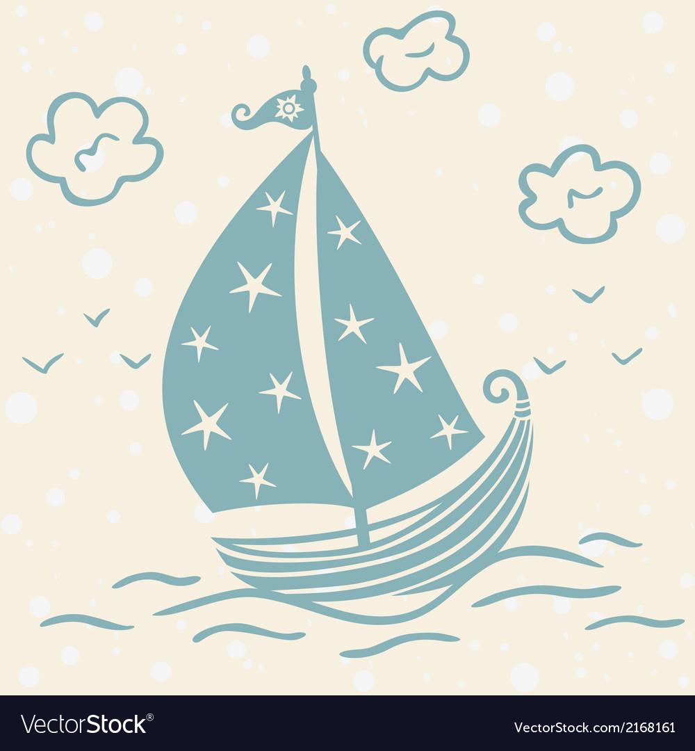 Ship beautiful silhouette vector image