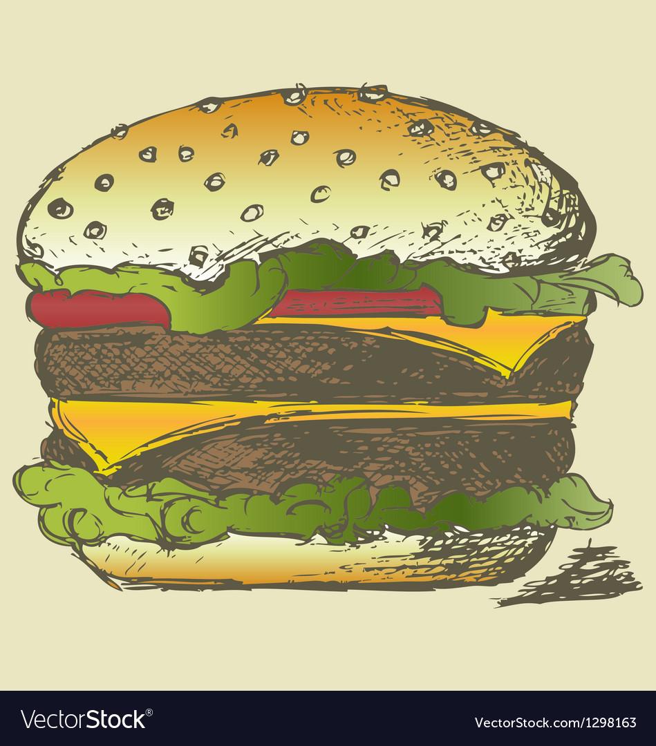 Big and tasty hamburger vector image
