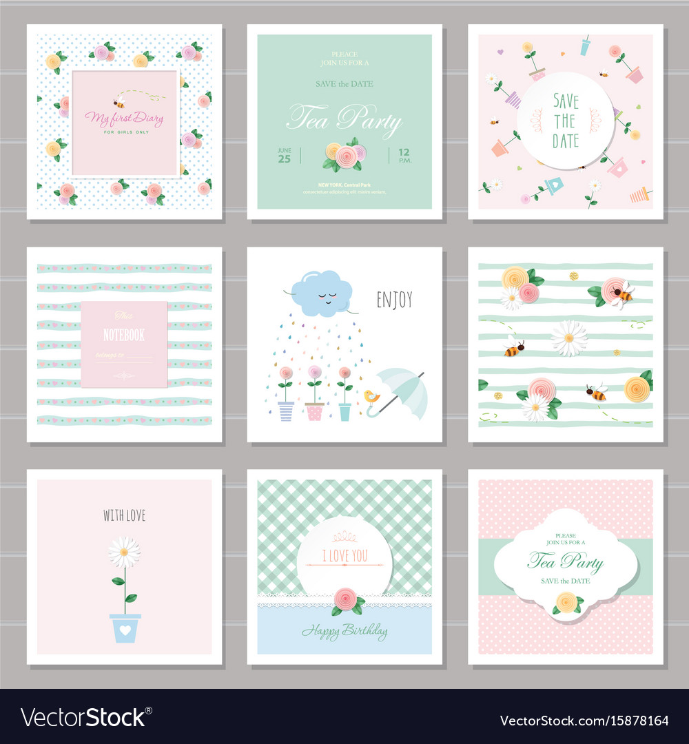 Cute cards for girls with floral decorative vector image