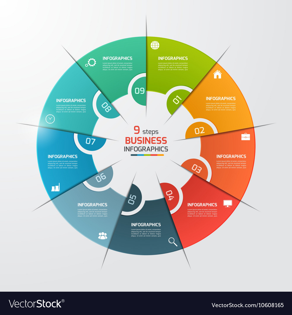 9 options pie chart circle infographic template vector image nvjuhfo Choice Image