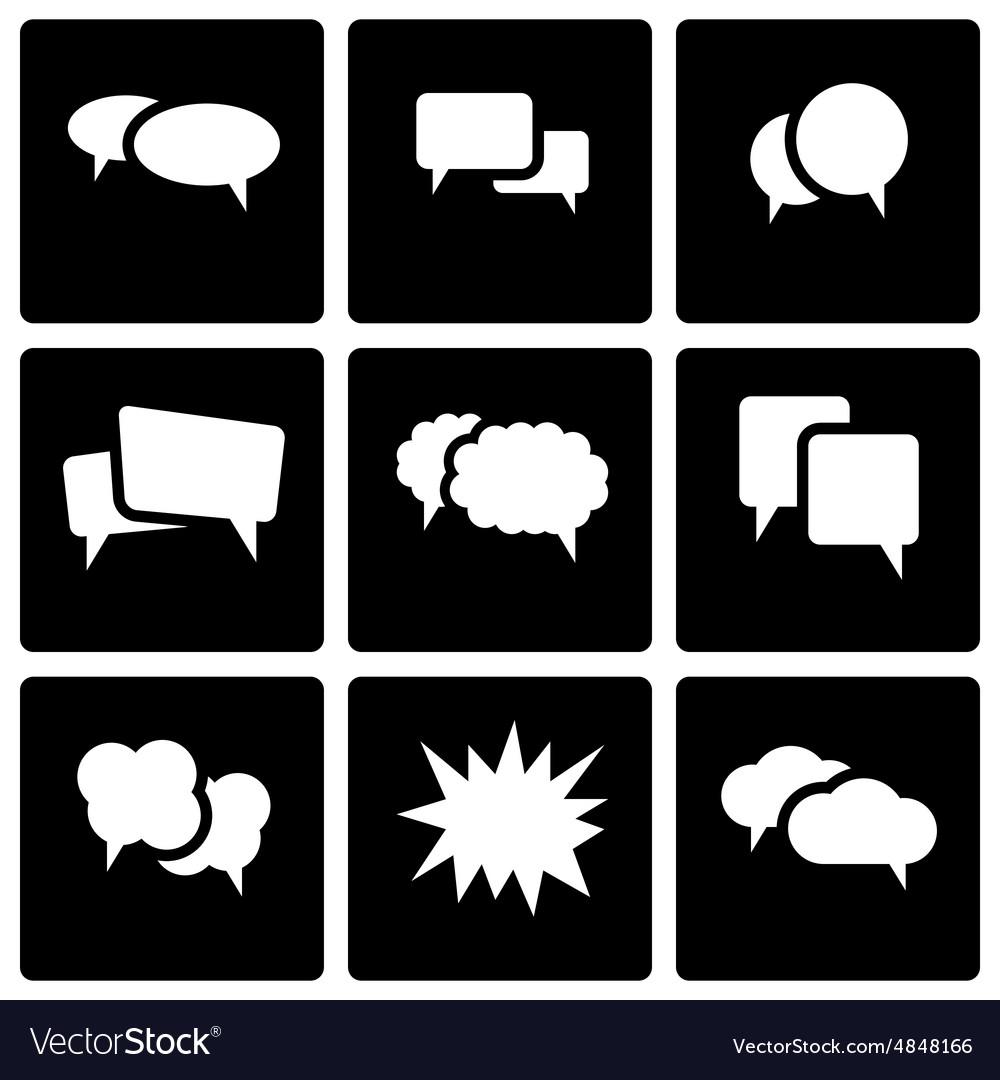 Black speech bubbles icon set vector image