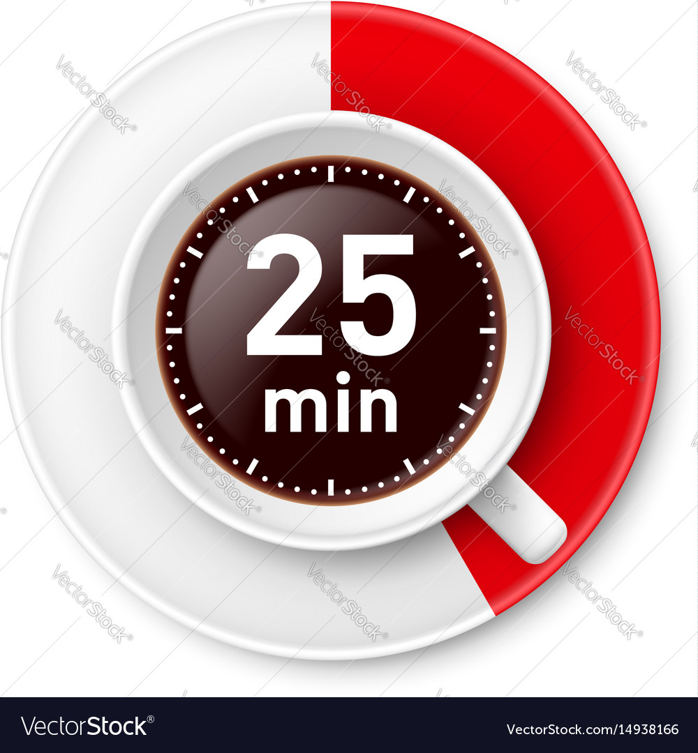 Cup of coffee with time limit for break vector image
