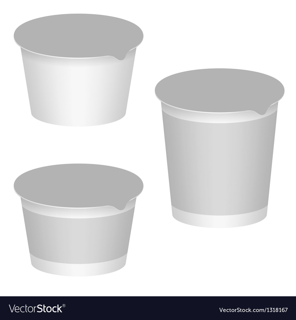 White Blank Packaging For Yogurt Milk Products vector image