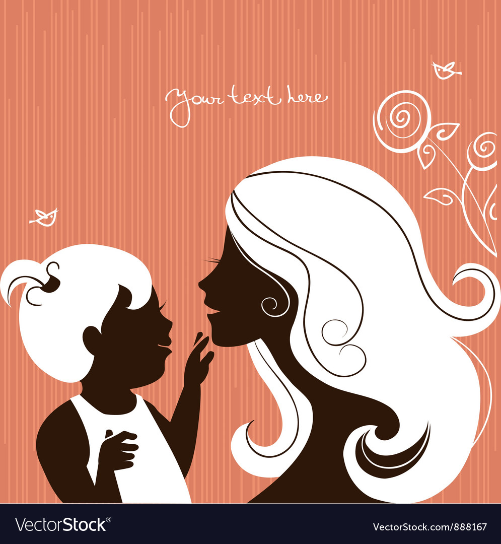 Beautiful mother silhouette vector image