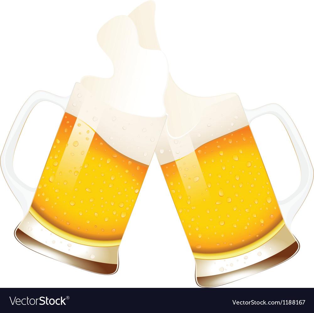 Beer mugs with splashing foam vector image
