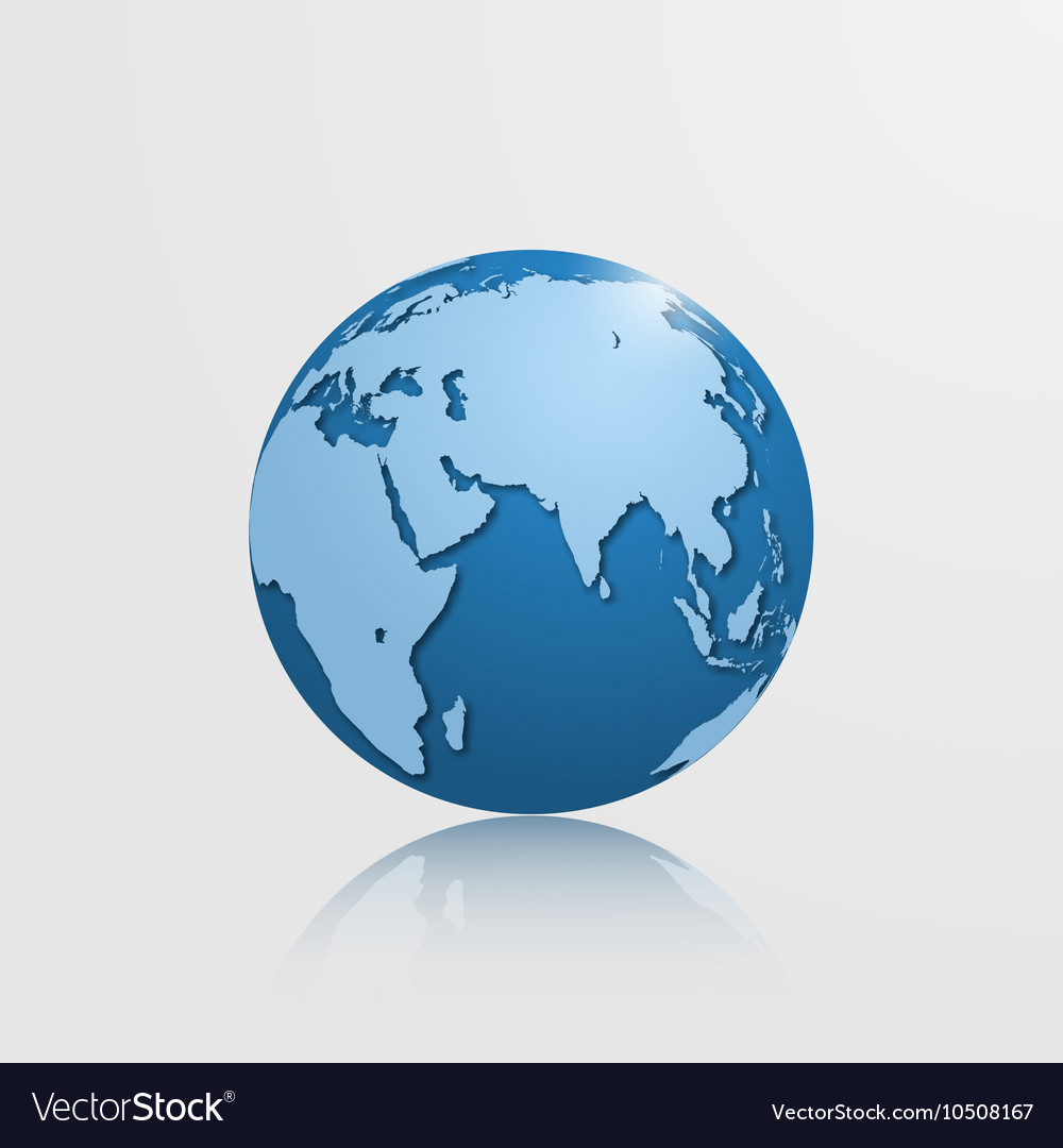 Detailed globe with eurasia and africa vector image