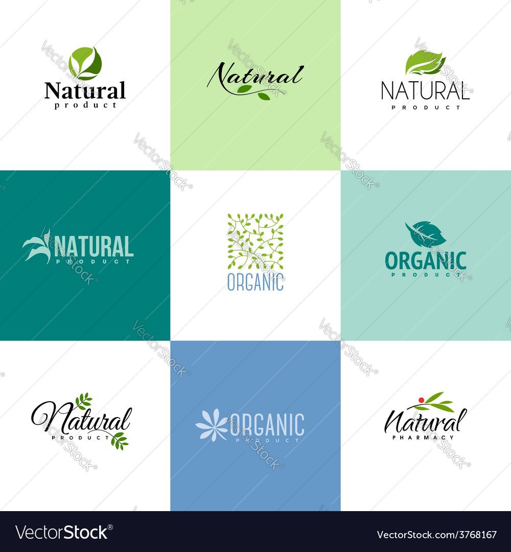Set of natural and organic products logo templates vector image