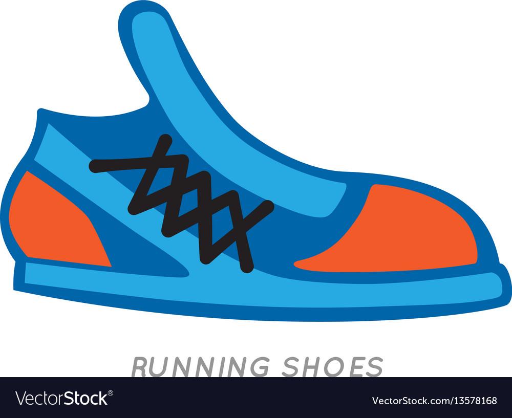 Blue-orange running shoes icon isolated on white vector image