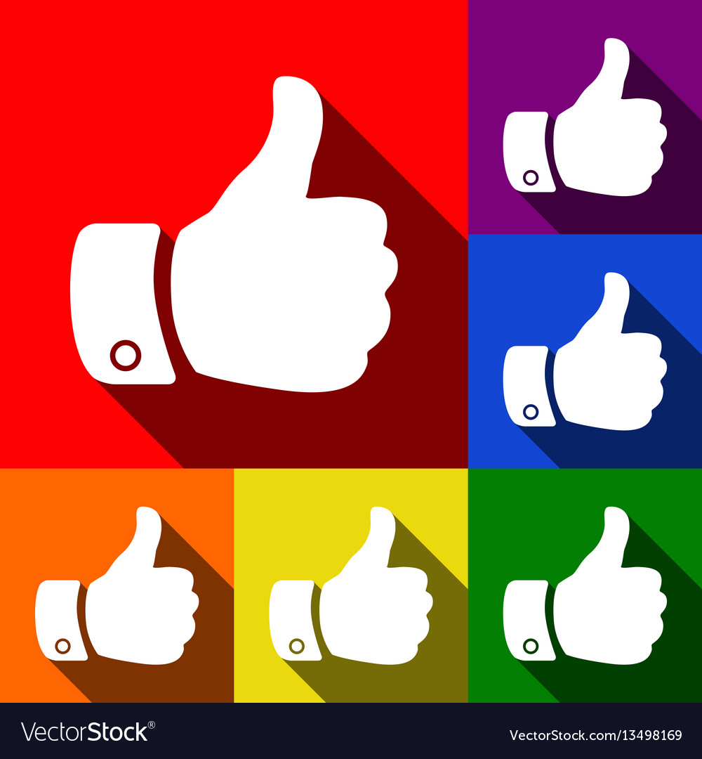 Hand sign set of icons with vector image