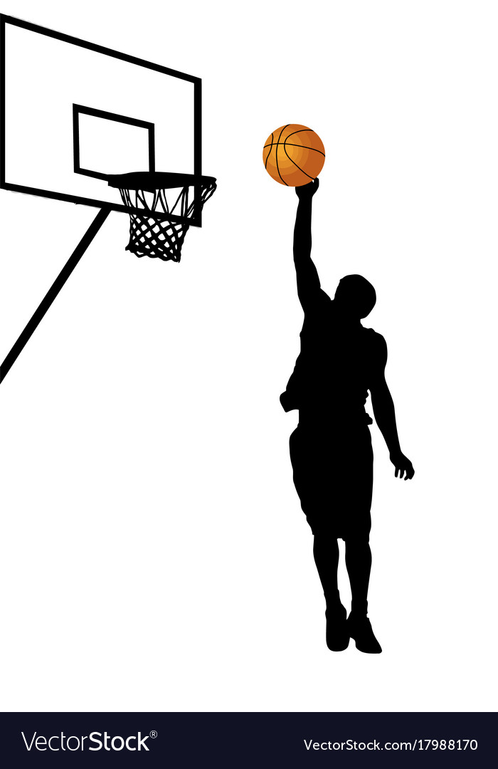 Basketball player silhouette on white background vector image