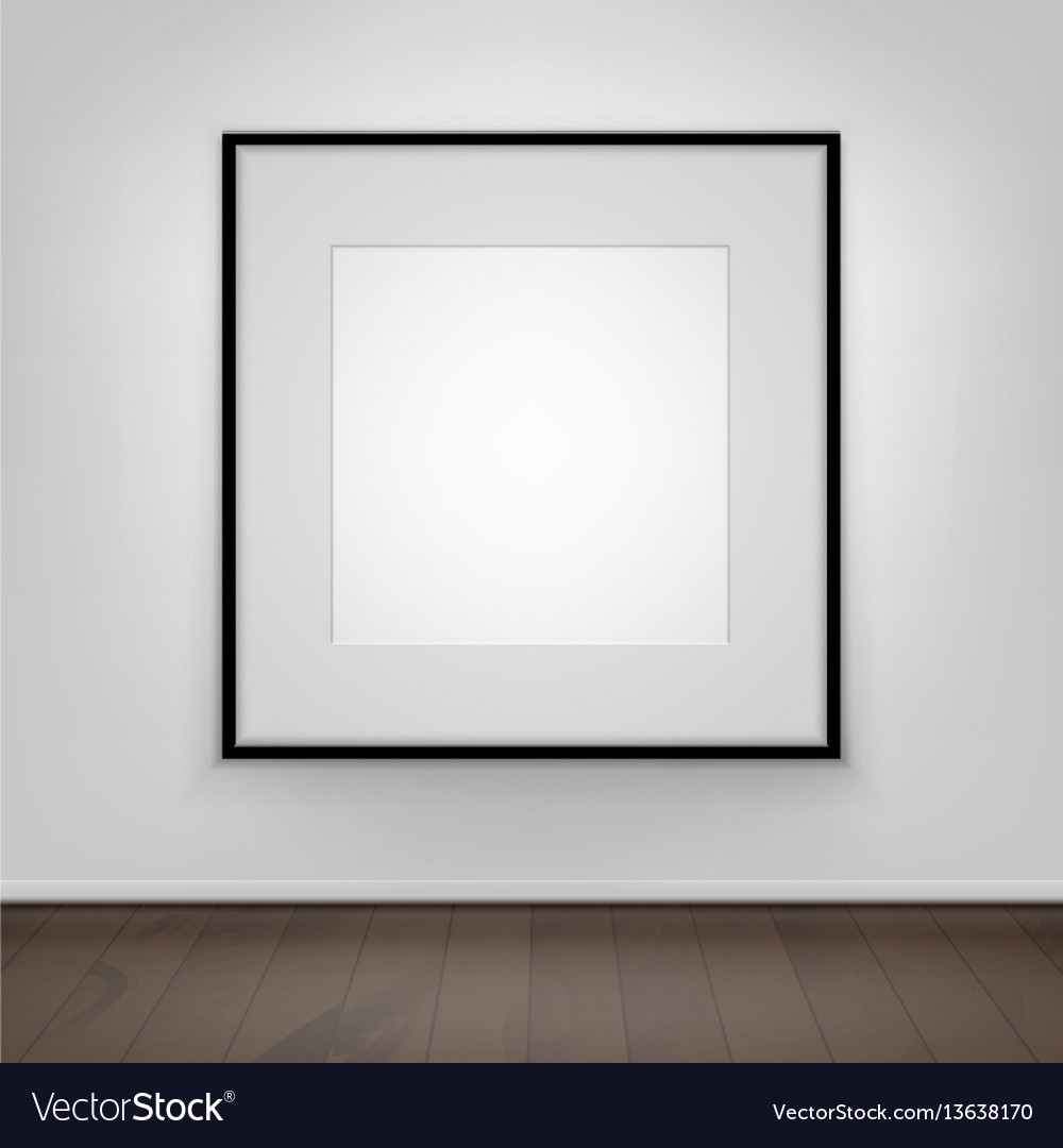 Poster picture black frame on wall front view vector image