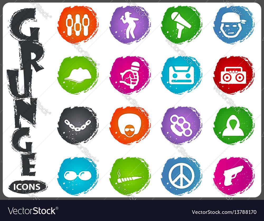 Rap hip hop music icons set vector image