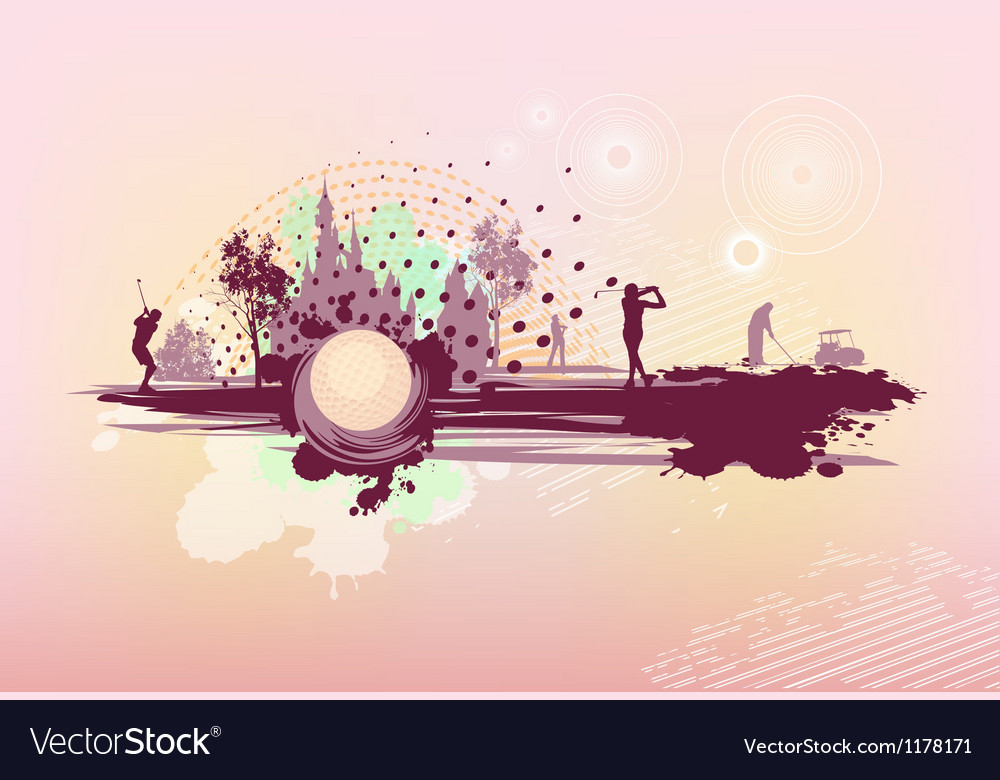 Pink background with golf players vector image